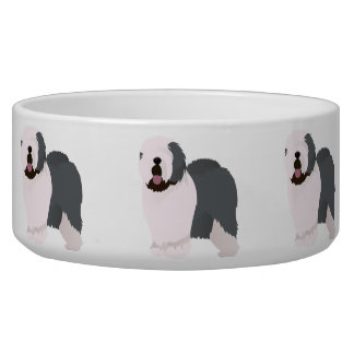 Bowl with old english sheepdog