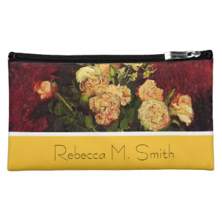 Bowl with Peonies and Rose,Vincent van Gogh Makeup Bags