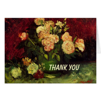 Bowl with Peonies and Roses, Vincent van Gogh Greeting Card