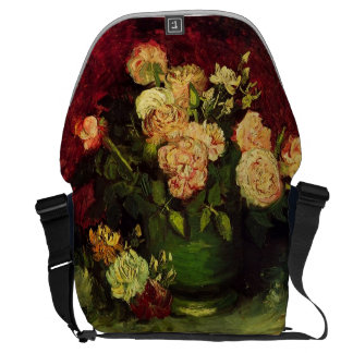 Bowl with Peonies and Roses, Vincent van Gogh Courier Bag
