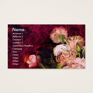 Bowl with Peonies & Roses Van Gogh Fine Art Business Card