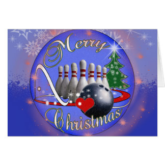 BOWLER / BOWLING MERRY CHRISTMAS CARD