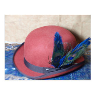 Bowler Hat with Peacock Feather Postcard