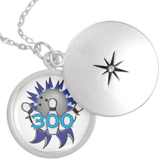 Bowling 300 Game Blue and Silver Locket Necklace