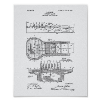 Bowling Alley 1906 Patent Art White Paper Poster