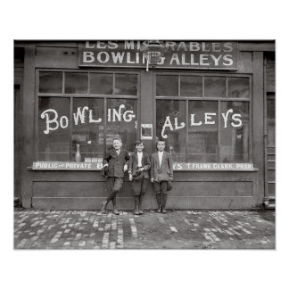 Bowling Alley, 1911. Vintage Photo Poster