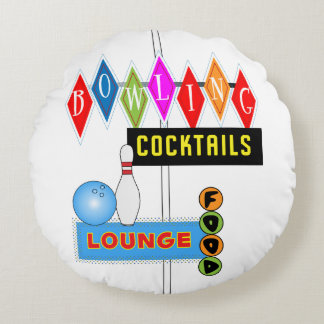 Bowling Alley Food Cocktails Lounge Round Pillow