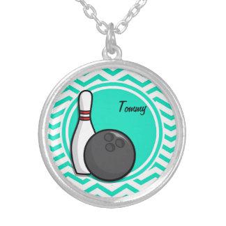 Bowling Aqua Green Chevron Custom Necklace