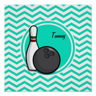 Bowling Aqua Green Chevron Poster