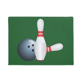 Bowling Ball and Pins, Customizable Doormat