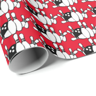 Bowling ball and pins pattern wrapping paper