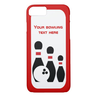 Bowling ball and pins red black modern iPhone 7 case