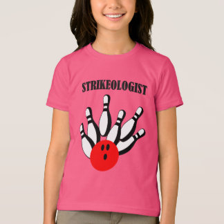 Bowling ball and pins with the word STRIKEOLOGIST T-Shirt