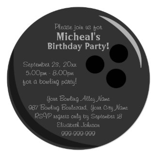 Bowling Ball Birthday Party Card