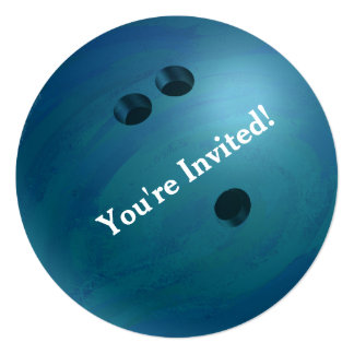 Bowling Ball Blue Party Invitation