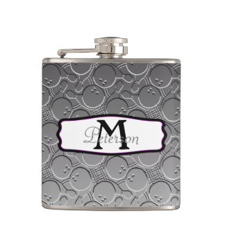 Bowling Ball Chrom Look Pattern Personalizable Hip Flask