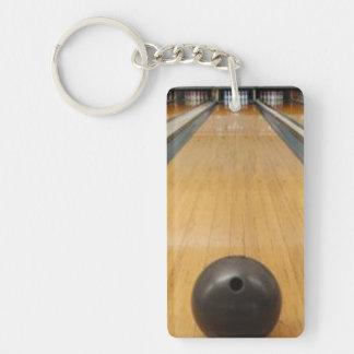Bowling ball lane Single-Sided rectangular acrylic key ring