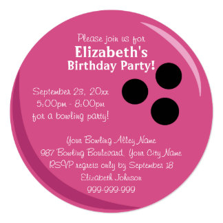 Bowling Ball Pink Birthday Party 13 Cm X 13 Cm Square Invitation Card