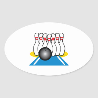 Bowling Ball & Pins Oval Sticker