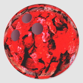 Bowling ball red classic round sticker