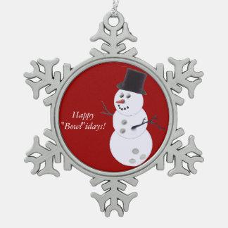 Bowling Ball Snowman Snowflake Pewter Christmas Ornament
