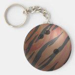 Bowling Ball Tiger Orange Basic Round Button Key Ring