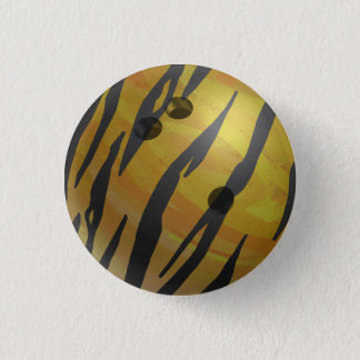 Bowling Ball Tiger Yellow 3 Cm Round Badge