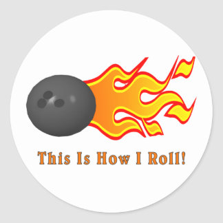 Bowling Ball With Flames Round Sticker