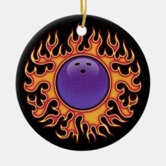 Bowling Balls-o-Fire Ceramic Ornament