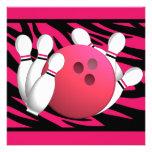 Bowling Birthday Neon Pink and Zebra Stripes Custom Invites
