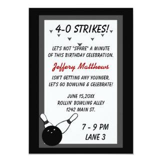 Bowling Birthday Party Black Grey Age customisable 13 Cm X 18 Cm Invitation Card