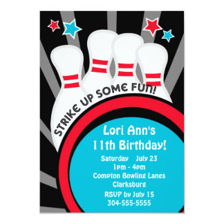 Bowling Birthday Party Card