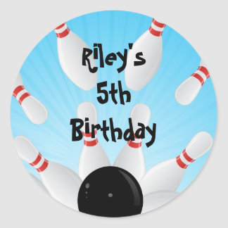 Bowling Birthday Party Favor Labels Round Sticker