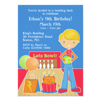 Bowling Birthday Party Flat Invitation