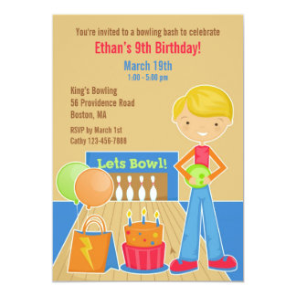 Bowling Birthday Party Flat Invitation