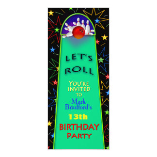 Bowling Birthday Party Invitation- Insert/Name/AGE Card