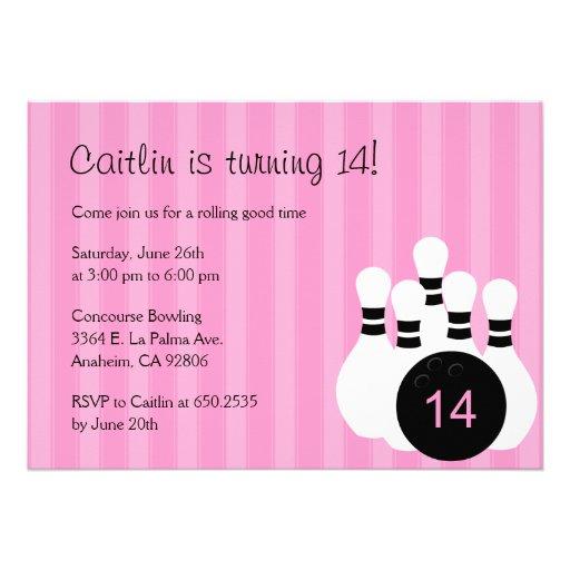 Bowling Birthday Party Invitation - Pink Custom Invitations