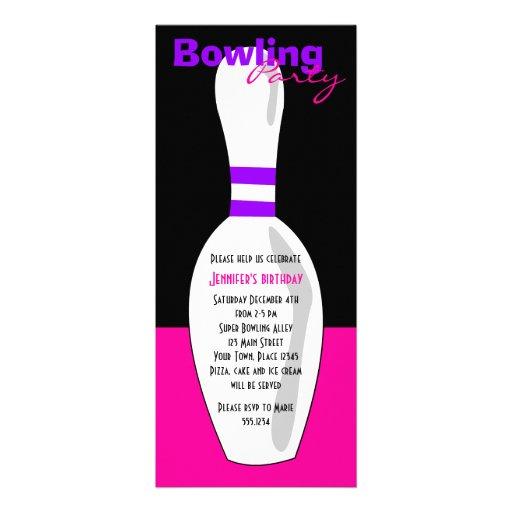 Bowling Birthday Party Invite - Pink Black Purple