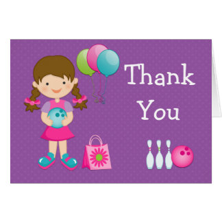 Bowling Birthday Party Thank You Card