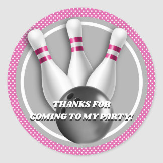 Bowling Birthday Thank You Classic Round Sticker