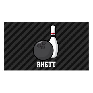 Bowling; Black & Dark Gray Stripes Double-Sided Standard Business Cards (Pack Of 100)