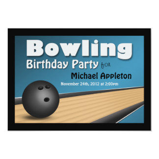 Bowling - Blue Birthday Party Invitations