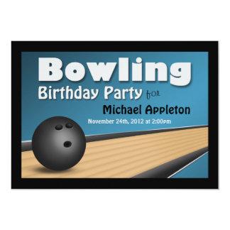 Bowling - Blue Birthday Party Invitations