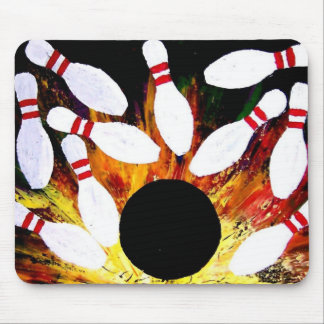 BOWLING BOWL STRIKE MOUSE PAD by Teo Alfonso