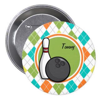 Bowling; Colorful Argyle Pattern Pins