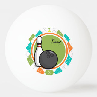 Bowling; Colorful Argyle Pattern Ping Pong Ball