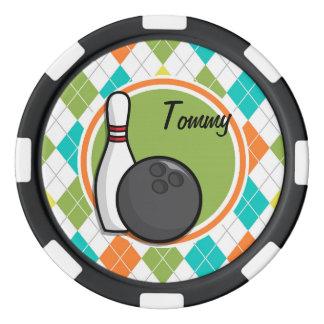 Bowling; Colorful Argyle Pattern Poker Chip Set