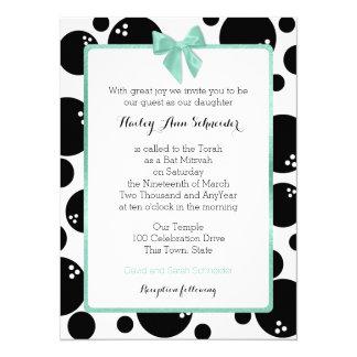 Bowling Dots Bat Mitzvah 14 Cm X 19 Cm Invitation Card