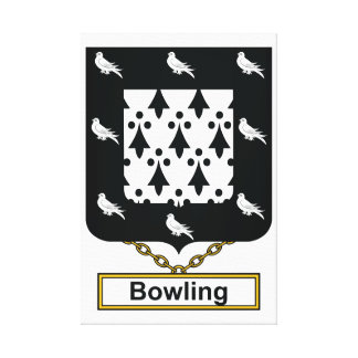 Bowling Family Crest Stretched Canvas Print