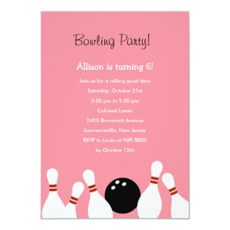 Bowling Fun Party Invitation (Pink)